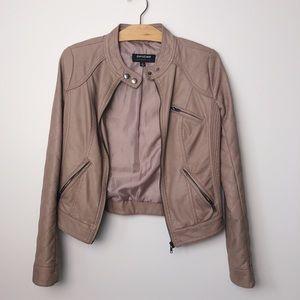 CoffeeShop Mauve Taupe Faux Leather Moto Jacket